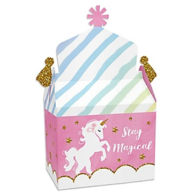 Rainbow Unicorn - Treat Box Party Favors - Magical Unicorn Baby Shower or Birthday Party Goodie Gable Boxes - Set of 12