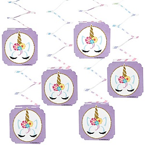 Rainbow Unicorn - Magical Unicorn Baby Shower or Birthday Party Hanging Decorations - 6 ct