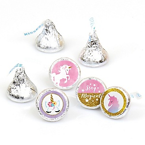 Rainbow Unicorn - Magical Unicorn Baby Shower or Birthday Party Round Candy Sticker Favors - Labels Fit Hershey's Kisses  - 108 ct