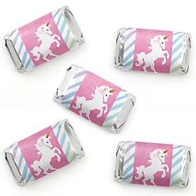 Rainbow Unicorn - Mini Candy Bar Wrapper Stickers - Magical Unicorn Baby Shower or Birthday Party Small Favors - 40 Count