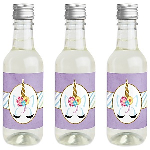 Rainbow Unicorn - Mini Wine and Champagne Bottle Label Stickers - Magical Unicorn Baby Shower or Birthday Party Favor Gift - For Women and Men - Set of 16