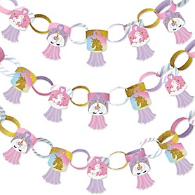 Rainbow Unicorn - 90 Chain Links and 30 Paper Tassels Decoration Kit - Magical Unicorn Baby Shower or Birthday Party Paper Chains Garland - 21 feet