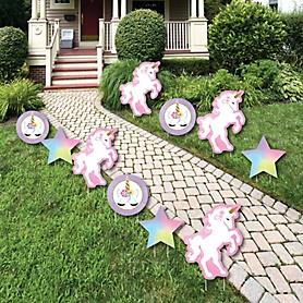 Rainbow Unicorn - Star and Unicorn Lawn Decorations - Outdoor Magical Unicorn Baby Shower or Birthday Party Yard Decorations - 10 Piece