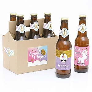 Rainbow Unicorn - Decorations for Women and Men - 6 Magical Unicorn Baby Shower or Birthday Party Beer Bottle Label Stickers and 1 Carrier