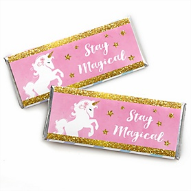 Rainbow Unicorn -  Candy Bar Wrapper Magical Unicorn Baby Shower or Birthday Party Favors - Set of 24