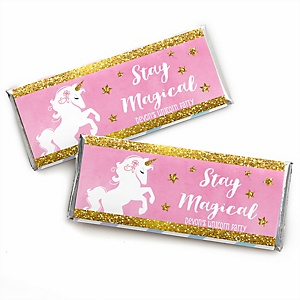 Rainbow Unicorn - Personalized Candy Bar Wrapper Magical Unicorn Baby Shower or Birthday Party Favors - Set of 24
