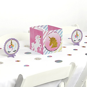Rainbow Unicorn - Magical Unicorn Baby Shower or Birthday Party Centerpiece and Table Decoration Kit