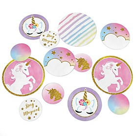 Rainbow Unicorn - Personalized Magical Unicorn Baby Shower or Birthday Party Giant Circle Confetti - Unicorn Party Decorations - Large Confetti 27 Count