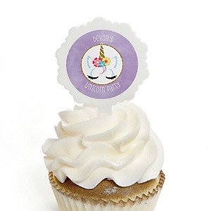Rainbow Unicorn - Cupcake Picks with Personalized Stickers - Magical Unicorn Baby Shower or Birthday Party Cupcake Toppers - 12 ct