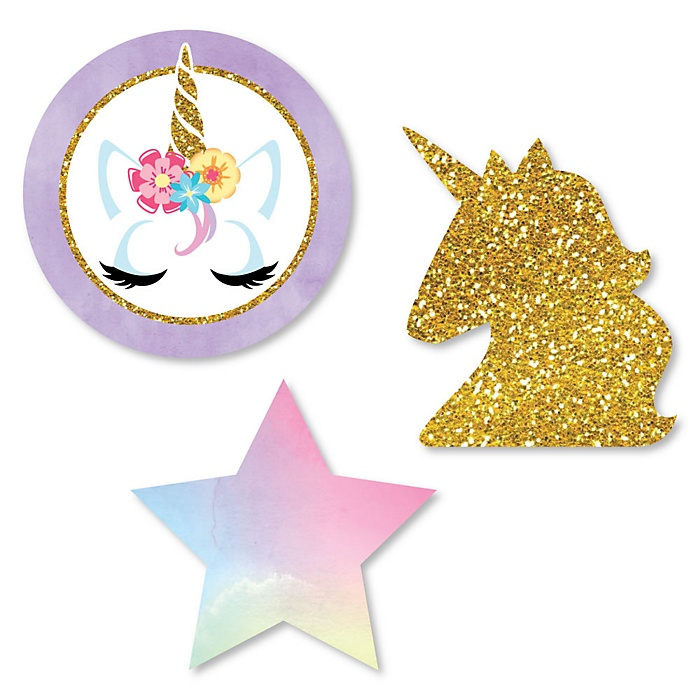Rainbow Unicorn - DIY Shaped Magical Unicorn Baby Shower or Birthday Party Cut-Outs - 24 ct