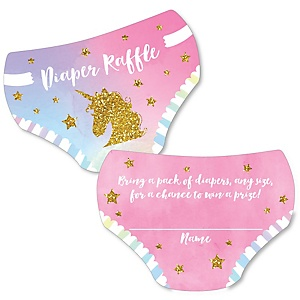 Rainbow Unicorn - Diaper Shaped Raffle Ticket Inserts - Magical Unicorn Baby Shower Activities - Diaper Raffle Game - Set of 24