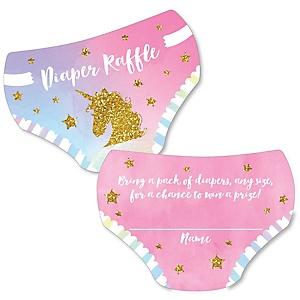 Rainbow Unicorn - Diaper Shaped Raffle Ticket Inserts - Magical Unicorn Baby Shower Activities - Diaper Raffle Game - Set of 24