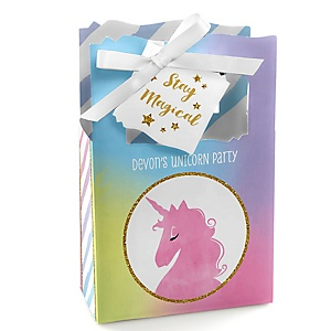 Rainbow Unicorn - Personalized Magical Unicorn Baby Shower or Birthday Party Favor Boxes - Set of 12