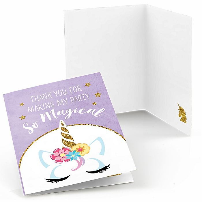 Rainbow Unicorn - Magical Unicorn Baby Shower or Birthday Party Thank You Cards  - 8 ct