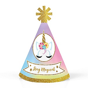 Rainbow Unicorn - Personalized Mini Cone Magical Unicorn Baby Shower or Birthday Party Hats - Small Little Party Hats - Set of 10