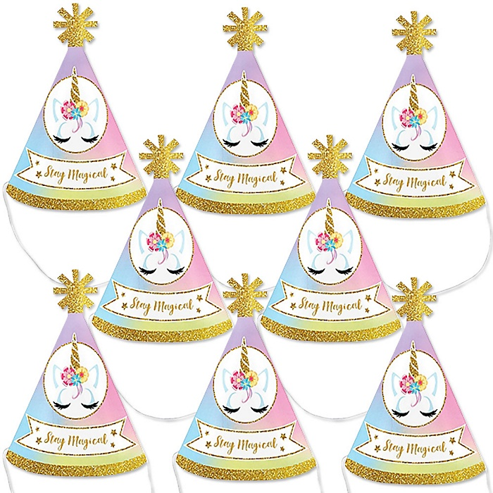 Rainbow Unicorn - Mini Cone Magical Unicorn Baby Shower or Birthday Party Hats - Small Little Party Hats - Set of 8