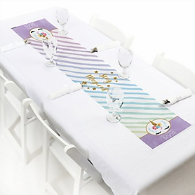 "Rainbow Unicorn - Personalized Petite Magical Unicorn Baby Shower or Birthday Party Table Runner - 12"" x 60"""