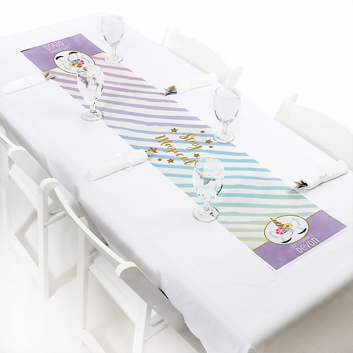 """Rainbow Unicorn - Personalized Petite Magical Unicorn Baby Shower or Birthday Party Table Runner - 12"""" x 60"""""""