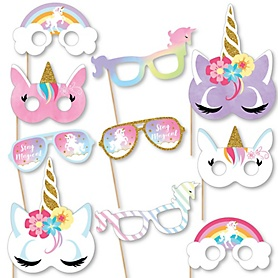 Rainbow Unicorn Glasses and Masks - Paper Card Stock Magical Unicorn Baby Shower or Birthday Party Photo Booth Props Kit - 10 Count