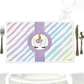 Rainbow Unicorn - Party Table Decorations - Magical Unicorn Baby Shower or Birthday Party Placemats - Set of 12