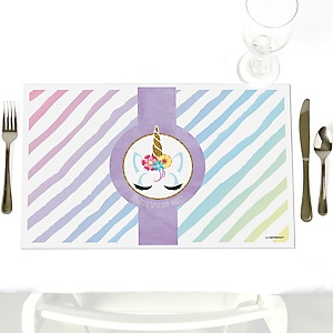 Rainbow Unicorn - Party Table Decorations - Personalized Magical Unicorn Baby Shower or Birthday Party Placemats - Set of 12