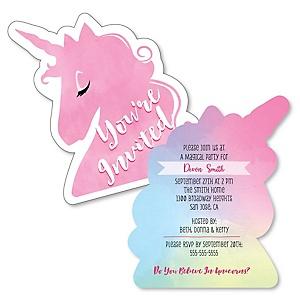 Rainbow Unicorn - Shaped Magical Unicorn Baby Shower or Birthday Party Invitations - Set of 12