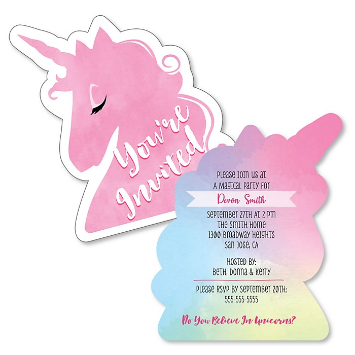 Rainbow Unicorn - Shaped Magical Unicorn Baby Shower or Birthday Party Invitations - Set of 12