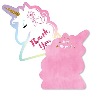 Rainbow Unicorn - Shaped Thank You Cards - Magical Unicorn Baby Shower or Birthday Party Thank You Note Cards with Envelopes - Set of 12
