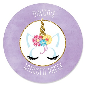 Rainbow Unicorn - Personalized Magical Unicorn Baby Shower or Birthday Party Sticker Labels - 24 ct