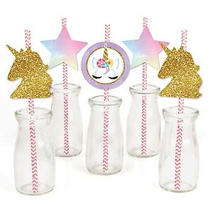 Rainbow Unicorn - Paper Straw Decor - Magical Unicorn Baby Shower or Birthday Party Striped Decorative Straws - Set of 24
