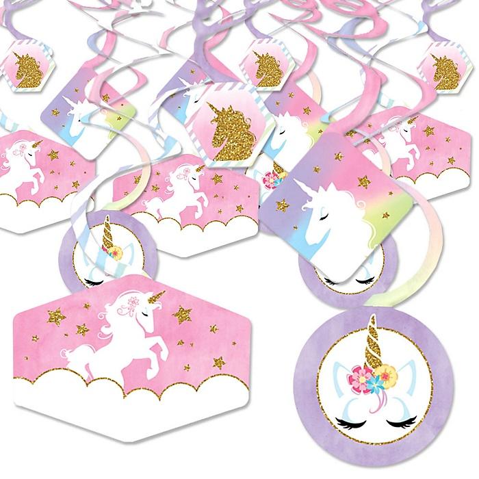 Rainbow Unicorn - Magical Unicorn Baby Shower or Birthday Party Hanging Decor - Party Decoration Swirls - Set of 40