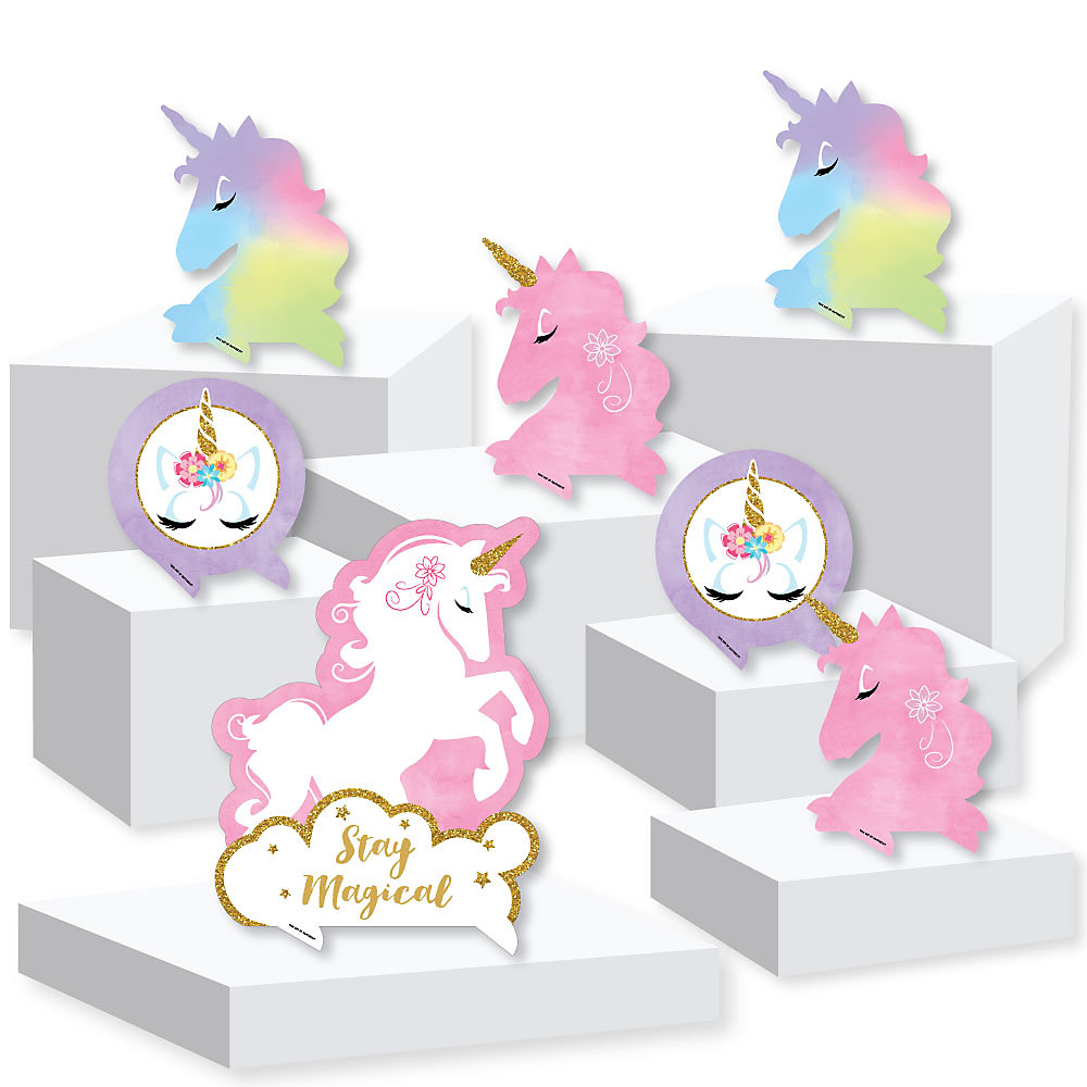 Rainbow Unicorn - Magical Unicorn Baby Shower or Birthday Party Centerpiece  and Buffet Table Decor - Tabletop Standups - Set of 7