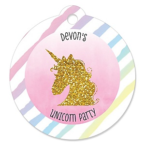 Rainbow Unicorn - Personalized Magical Unicorn Baby Shower or Birthday Party Favor Gift Tags  - 20 ct