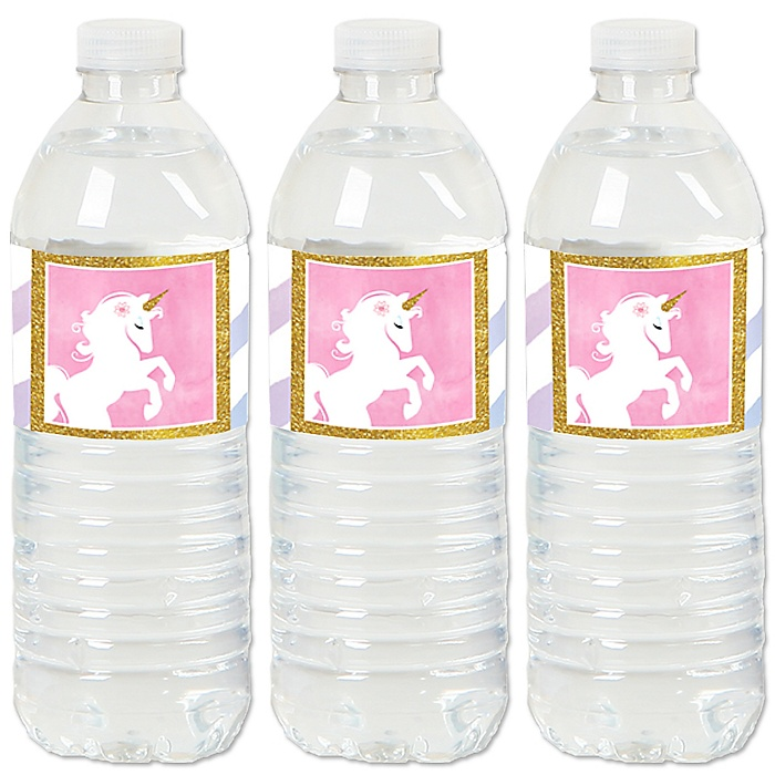 Rainbow Unicorn - Magical Unicorn Baby Shower or Birthday Party Water Bottle Sticker Labels - Set of 20