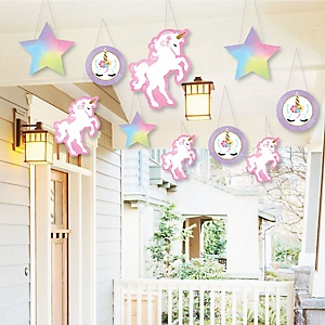 Hanging Rainbow Unicorn - Outdoor Magical Unicorn Baby Shower or Birthday Party Hanging Porch & Tree Yard Decorations - 10 Pieces