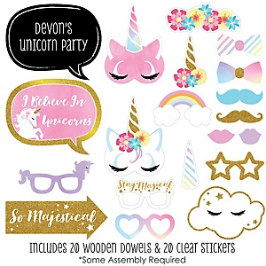 Rainbow Unicorn - 20 Piece Magical Unicorn Baby Shower or Birthday Party Photo Booth Props Kit