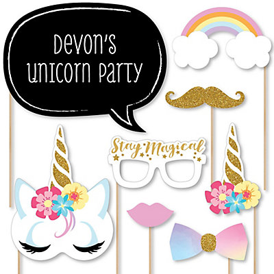 Rainbow Unicorn   20 Piece Magical Unicorn Baby Shower Or Birthday Party  Photo Booth Props Kit