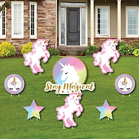 Rainbow Unicorn - Yard Sign & Outdoor Lawn Decorations - Magical Unicorn Baby Shower or Birthday Party Yard Signs - Set of 8