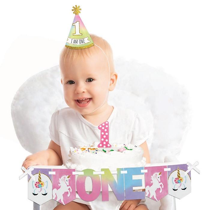 Rainbow Unicorn 1st Birthday - First Birthday Girl Smash Cake Decorating Kit - Magical Unicorn High Chair Decorations