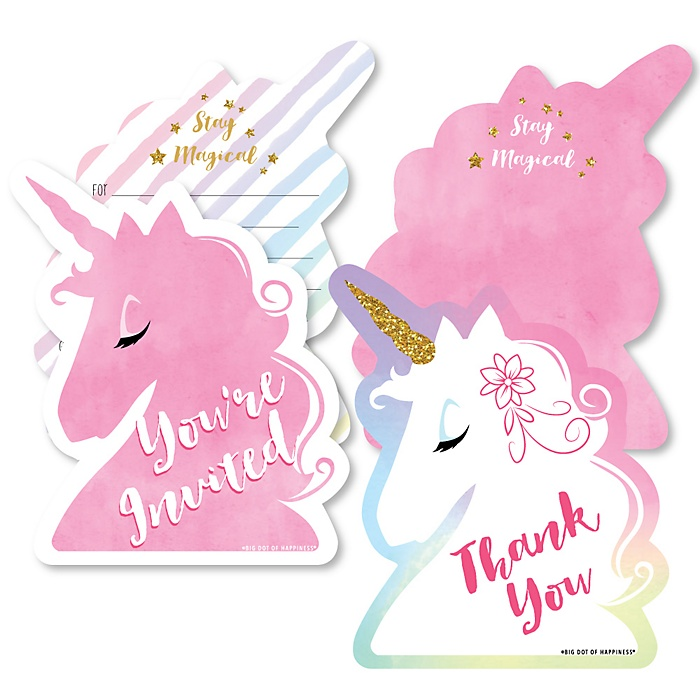 Rainbow Unicorn - 20 Shaped Fill-In Invitations and 20 Shaped Thank You Cards Kit - Magical Unicorn Baby Shower or Birthday Party Stationery Kit - 40 Pack