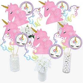 Rainbow Unicorn - Magical Unicorn Baby Shower or Birthday Party Centerpiece Sticks - Table Toppers - Set of 15