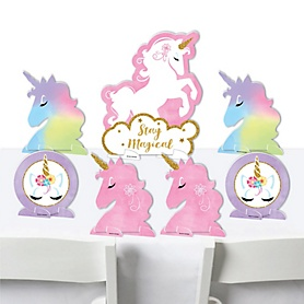 Rainbow Unicorn - Magical Unicorn Baby Shower or Birthday Party Centerpiece Table Decorations - Tabletop Standups - 7 Pieces