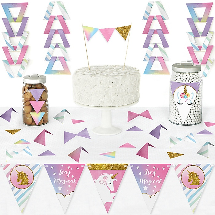 Rainbow Unicorn - DIY Pennant Banner Decorations - Magical Unicorn Baby Shower or Birthday Party Triangle Kit - 99 Pieces