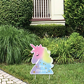 Rainbow Unicorn - Outdoor Lawn Sign - Magical Unicorn Baby Shower or Birthday Party Yard Sign - 1 Piece