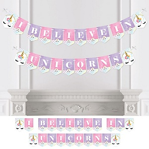 Rainbow Unicorn - Magical Unicorn - Baby Shower or Birthday Party Bunting Banner - Party Decorations - I Believe In Unicorns