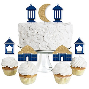 Ramadan - Dessert Cupcake Toppers - Eid Mubarak Clear Treat Picks - Set of 24