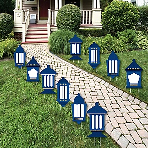 Ramadan - Lantern Lawn Decorations - Outdoor Eid Mubarak Yard Decorations - 10 Piece