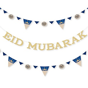 Ramadan - Eid Mubarak Letter Banner Decoration - 36 Banner Cutouts and No-Mess Real Gold Glitter Eid Mubarak Banner Letters