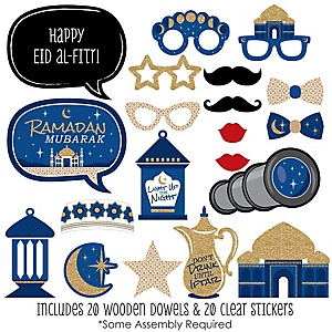 Ramadan - 20 Piece Eid Mubarak Photo Booth Props Kit – 20 Count