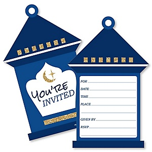 Ramadan - Shaped Fill-In Invitations - Eid Mubarak Invitation Cards with Envelopes - Set of 12